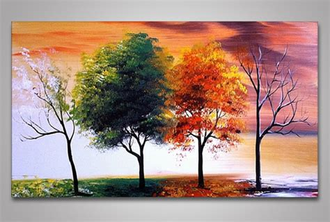 Painting 4 Seasons by Fabuart 1 3 4 Or 5 Panel Painted Textured