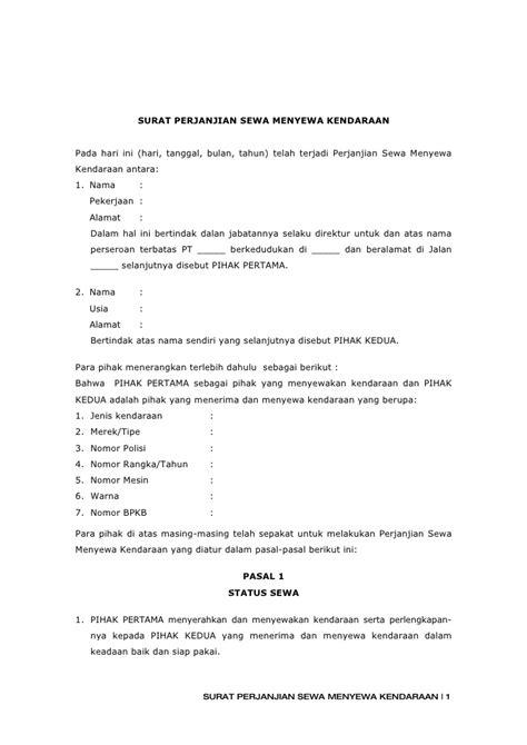 3 surat perjanjian sewa menyewa kendaraan