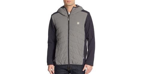 bench quilted jacket bench colorblock quilted jacket in gray for men smoke