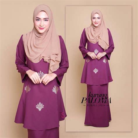 Baju Kurung Warna Pink Purple tempahan ditutup baju kurung moden crepe sedondon saeeda collections