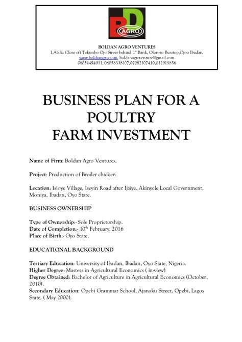 poultry business plan template business plan for a poultry farm investment