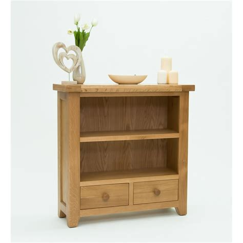 low 2 shelf bookcase devon small low 2 shelf bookcase with drawers solid oak