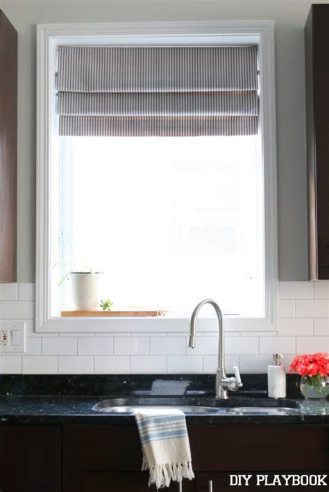 blinds for kitchen window sink diy faux shade for the kitchen diy playbook