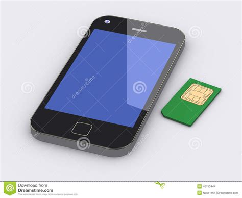 sim card mobile phone 3d smart mobile phone and sim card stock illustration