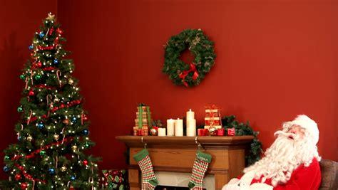 santa in your living room santa claus sleeping in living room stock footage video