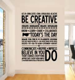 inspirational stickers for walls inspiring decor for the office be creative wall sticker