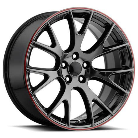dodge hellcat style  pvd black chrome rim  red