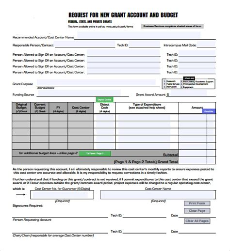 budget request template sle grant budget 8 documents in word pdf