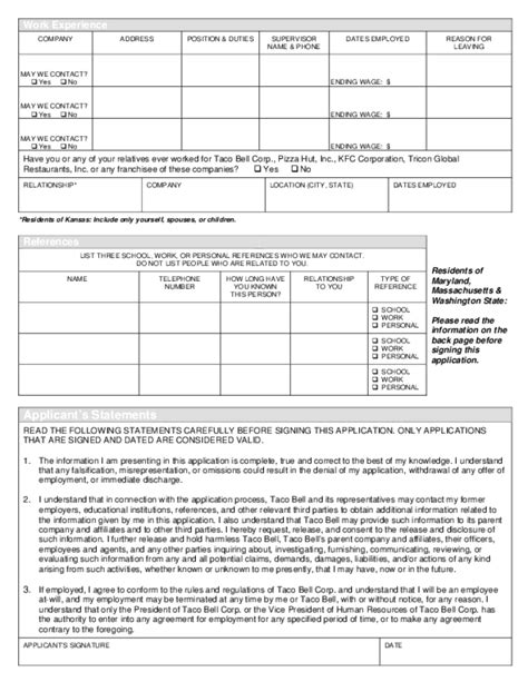 printable job application for taco bell free printable taco bell job application form page 3