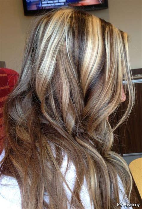 caramel chunk highlights short hair brown hair with highlights and lowlights chunky blond