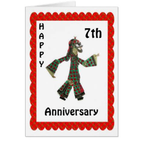 Happy 7th Birthday Card Template by 7th Wedding Anniversary Cards Invitations Photocards More