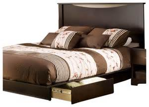back of bed south shore back bay queen storage platform bed set in dark chocolate finish transitional