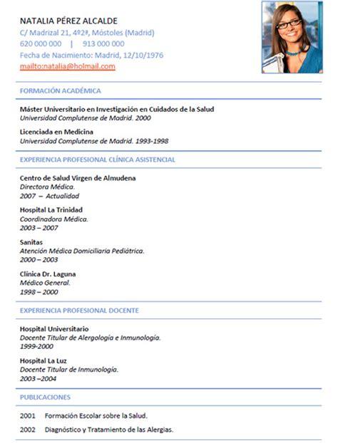 Plantilla De Curriculum Medico Elaboraci 243 N Curriculum De M 233 Dicos O Enfermeras Plantillas De Cv Para Hospitales Cvexpres