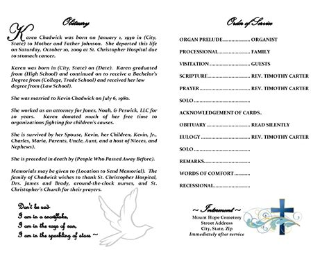 free template for obituary program free obituary template e commercewordpress