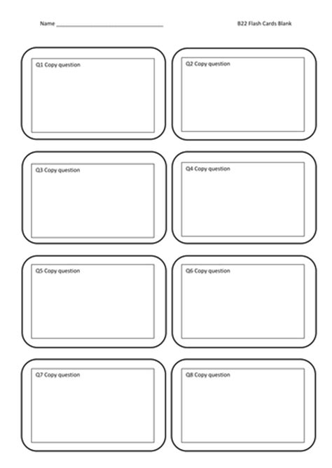 Blank Vocabulary Cards Template by Flash Cards Blank By Jamesbradyuk Teaching Resources Tes