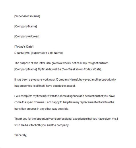 business letter notice two weeks notice letter 10 free sle exle format