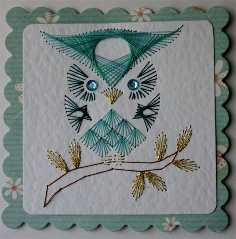 Card Stitch Templated by Stitched Owl Card Broderi Owl Card Owl