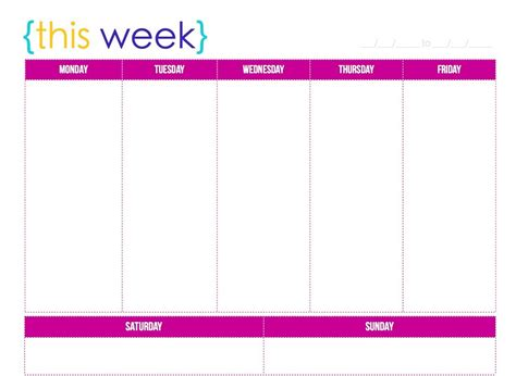 blank six week calendar template
