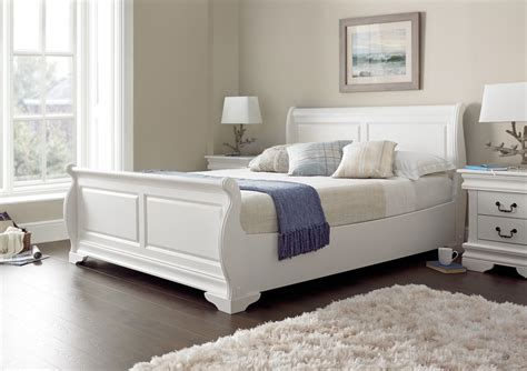 louie polar white new painted wood wooden beds