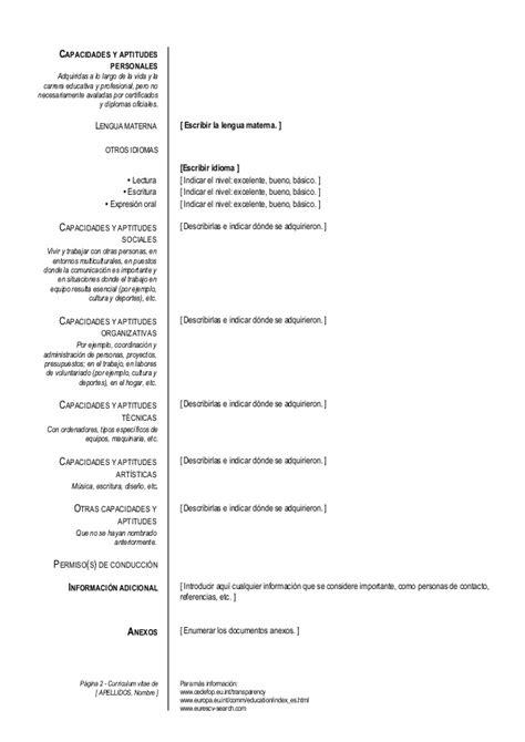 Modelo Cv Europeo Español Modelo Curriculum Europeo
