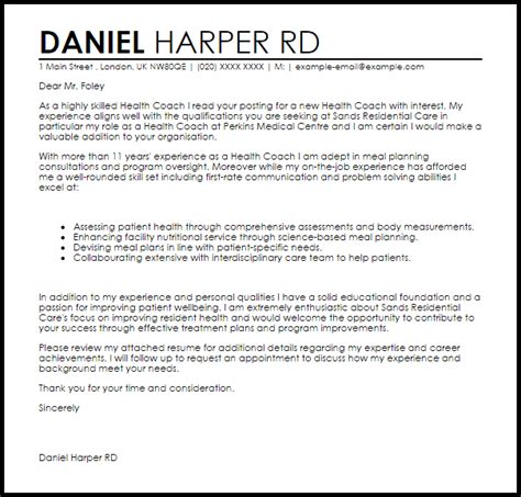 Health Coach Cover Letter Sample   LiveCareer