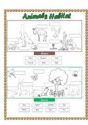 animals habitat desert forest cut and paste part 2