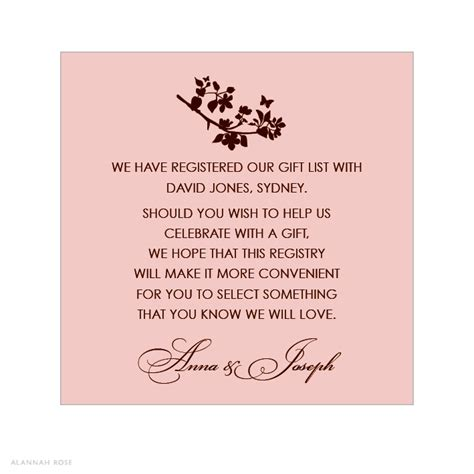 bridal shower honeymoon registry wording bridal shower gift registry insert wording sear and where to put wedding registry