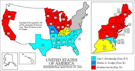 united states map of 1860 psephos adam carr s election archive