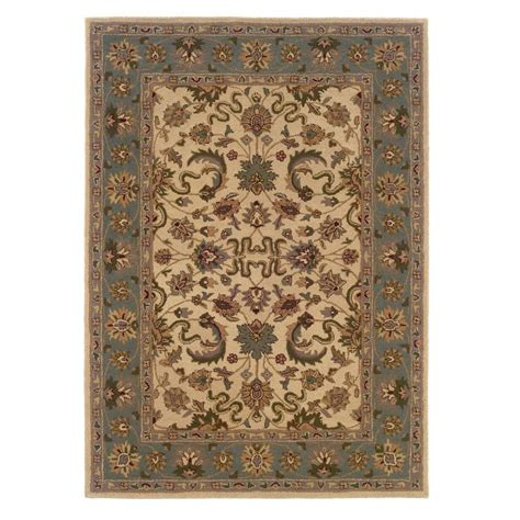 linon home decor rugs linon home decor trio traditional cream and light blue 1