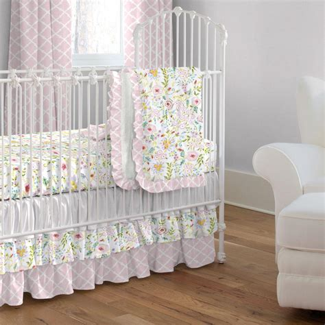 Pink And Gray Primrose 3 Piece Crib Bedding Set Carousel Crib Bedding Sets For