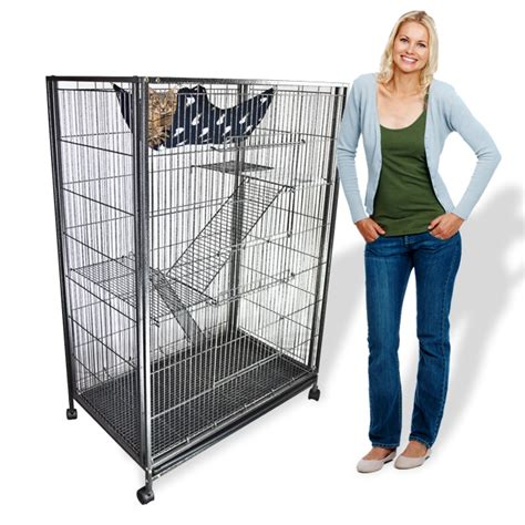 Large Animal Cage Cat Cage PlaypenTower Hammock Bed 55