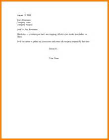 Two Weeks Resignation Letter Format 7 2 Week Notice Email Letter Format For