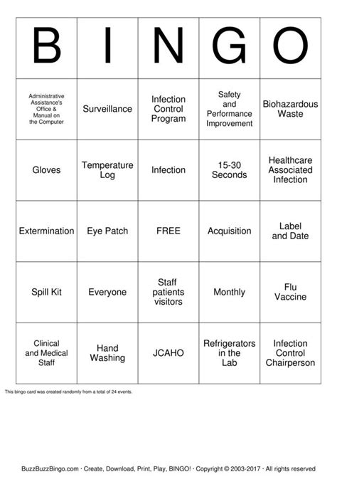 Infection Control Inservice Bingo Cards to Download, Print