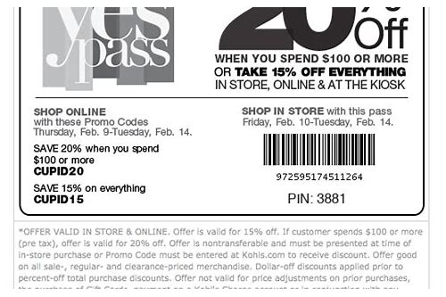 kohls coupons yes pass 2018