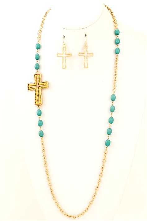 bead cross necklace beaded chain link cross necklace set necklaces