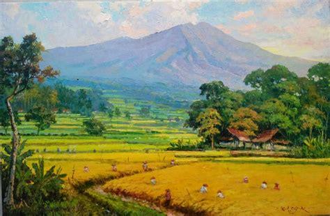 Lukisan Pemandangan Pegunungan lukisan pemandangan gunung dan sawah wallpaper keren