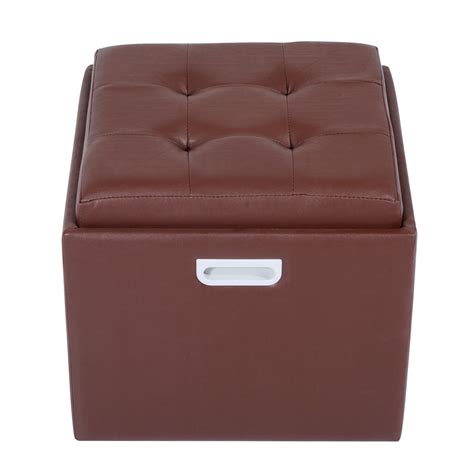 Square Storage Ottoman With Tray Homcom 14 Quot Tufted Square Storage Ottoman With Tray Brown Home Clearance