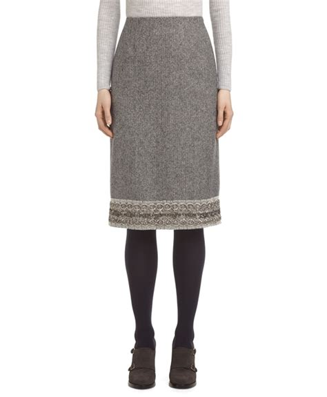 s light grey lace trim pencil skirt brothers