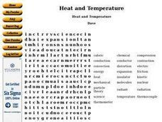 Temperature And Heat Worksheet by Heat And Temperature Word Search 6th 8th Grade Worksheet