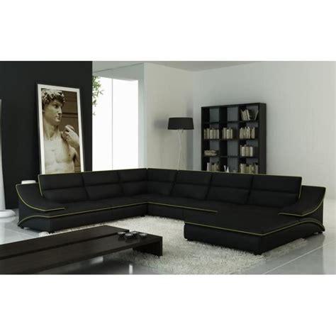 grand canapé d angle cuir grand canap 201 d angle en cuir noir et vert design achat