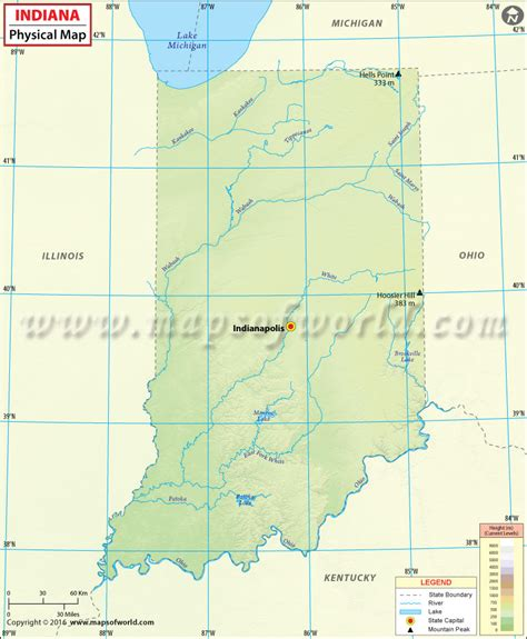 physical map of indiana physical map of indiana indiana map
