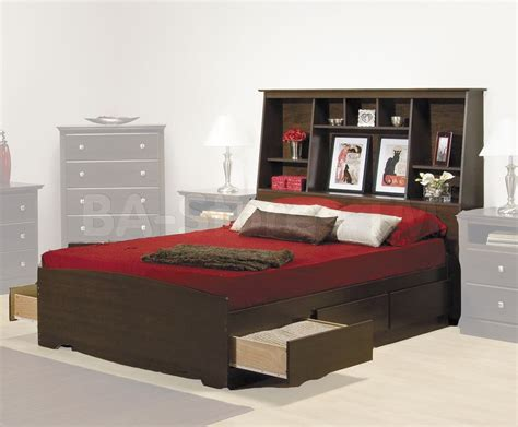 Bed With Storage And Headboard by Prepac Fremont Platform Storage Bed With Bookcase