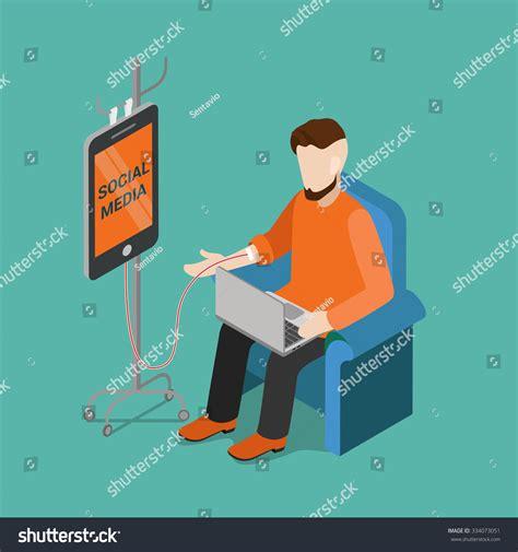 Technology Detox Illustrations by Flat 3d Isometric Social Media Technology Stock Vector