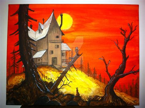 difference between and acrylic paint on canvas acrylic on canvas painting haunted house sunset by
