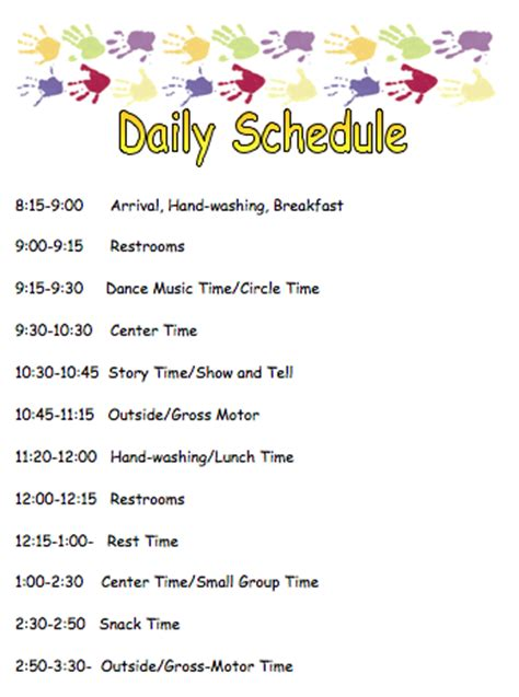 kindergarten timetable template preschool daily schedule template schedule template free