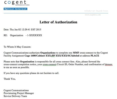 authorization letter use of address letter of authorization exles providers