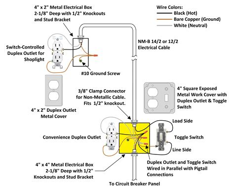 inch junction box and exposed work cover wiring diagram