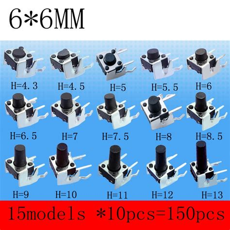 Tactile Button 13mm Push On 15models 150pcs 6 6mm tact switch tactile push button switch kit height 4 3mm 13mm micro