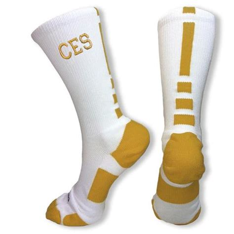 white and gold white and gold elite socks