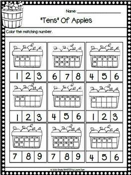 fall harvest themed kindergarten math literacy print